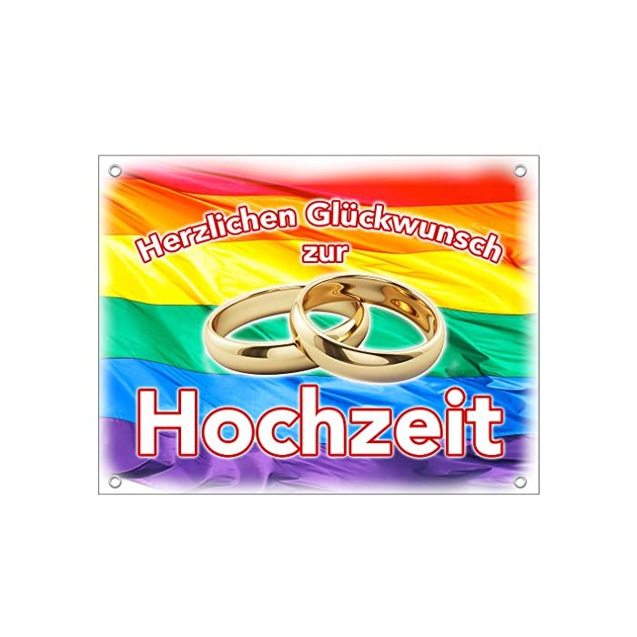 Hochzeitsbanner Hochzeitsplane Gleichgeschlechtliche Ehe Hochzeitslaken PVC 1,30m x 1,00m zur Hochzeit