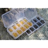 preadvisor (TM) 600pcs 3# -12# 10Tamaños Acero de alto carbono Fish Jig Ganchos Dorado/plateado con agujero caja de aparejos de pesca de carpas Pesca Equipo