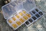 asmaza(TM) 600pcs 3# -12# 10 Sizes High Carbon Steel Fish Jig Hooks Golden/Silver with Hole Carp Fishing Tackle Box Fishing Equipment