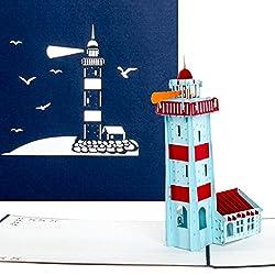 """Pop-Up Karte """"Leuchtturm"""" - Reisegutschein, Gutschein Urlaub, Leuchtturm Karte, maritime 3D Geburtstagskarte"""
