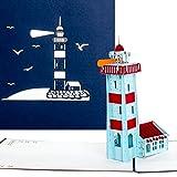 'Pop Up carte Phare–Bon d'achat, bon voyage vacances, phare carte, Maritime 3D Carte d'anniversaire...