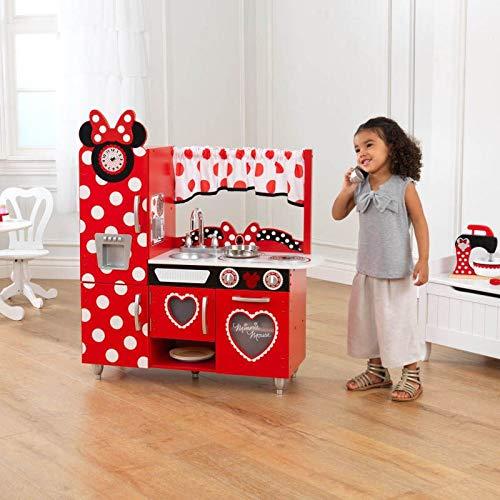 KidKraft 53371 Disney® Jr. Minnie Maus Vintage Spielküche aus Holz für Kinder mit Spieltelefon (Minnie Maus-kühlschrank)