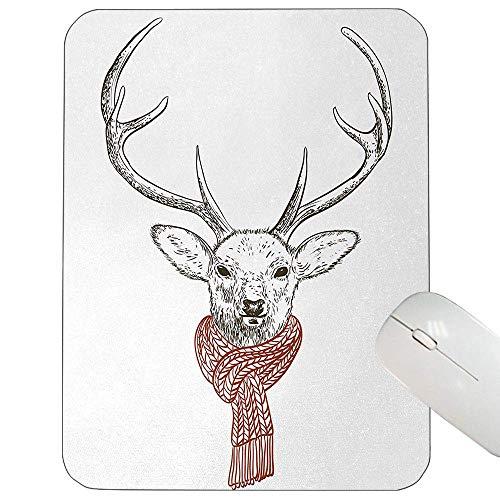 Geweih-kundengebundene Mausunterlage Illustration eines Rotwild-tragenden Schals gestrickte Hals-Winterzeit-kalte Dezember-Mausunterlage Rotholz-graues Weiß herein,Gummimatte 11,8