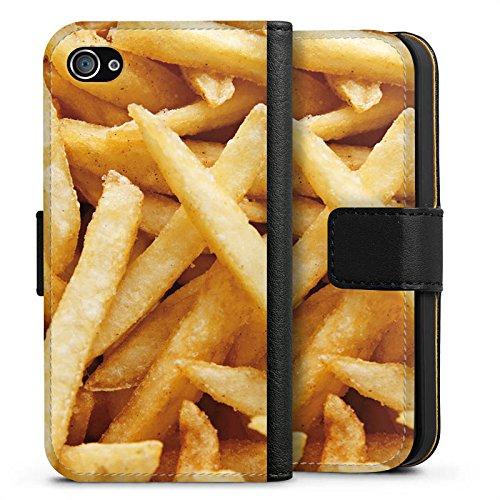 Apple iPhone X Silikon Hülle Case Schutzhülle Pommes Fritten Fast Food Sideflip Tasche schwarz