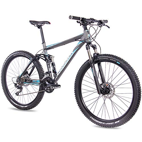 CHRISSON 27,5 Zoll Mountainbike Fully - Hitter FSF grau blau - Vollfederung Mountain Bike mit 30 Gang Shimano Deore Kettenschaltung - MTB Fahrrad für Herren und Damen mit Rock Shox Federgabel
