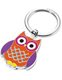 Porte-clés chouette, fonte métallique/émail, chromé brillant, orange
