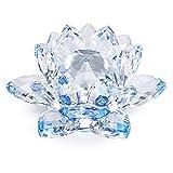 """Sumnacon Fleur de Lotus Cristal, dia 100mm(4"""")- Pour la Décoration dans la Maison, idéal Cadeau pour anniversaire, les fêtes (Bleu)..."""