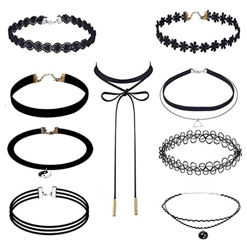 lace-choker-kingwo-9-pieces-choker-necklace-set-stretch-velvet-classic-gothic-tattoo-lace-choker-for