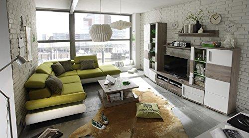 Hochwertige Anbauwand Wohnwand Wohnzimmerschrank Schrankwand Silbereiche Dekor / weiss ca. 296 cm breit - 2