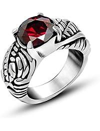 masop Hombre Titanio Acero Inoxidable Estilo Retro anillo de piedra redondo rojo