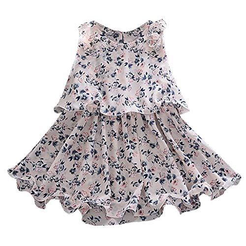 Fenverk MäDchen Baumwolle Streifen Tiere T-Shirt Kleid Cartoon Blumen Baby Sommerkleidung Infant Outfit äRmellose Prinzessin Gallus Kleinkind Swing(Weiß,12-18 Monate)
