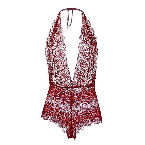 SUMTTER V-Ausschnitt Einfarbig Onesies Sexy Spitze Unterwäsche Blütenspitze Damen SchnüRen Set Dessous Set Schlafanzug