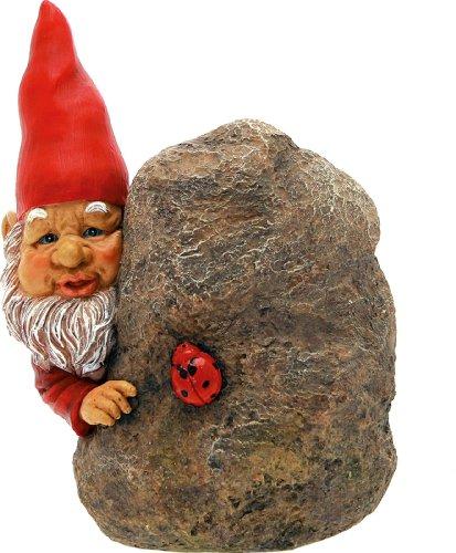 Wichtel auf Fels mit Marienkäfer cm.14x 9x 16h.