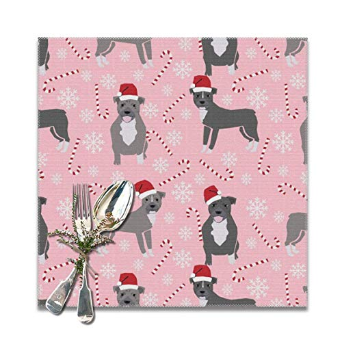 Aeykis Pitbull Peppermint Stick Winter Candy Cane Christmas Ice Blue Washable Placemats for Dining Table Double Fabric Printing Cotton Place Mats for Kitchen Table Set of 6 Table Mat 12