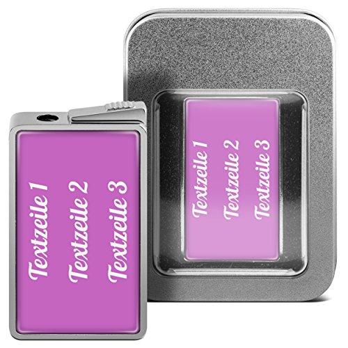 printplanet Feuerzeug mit eigenem Text bedrucken - personalisiertes Gasfeuerzeug mit Wunschtext inkl. Metall-Geschenk-Box (Pink)