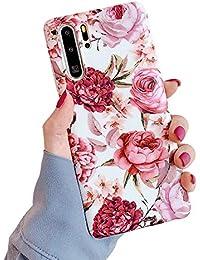 Suhctup Compatible con Samsung Galaxy Note 10 Pro Funda de Suave TPU con Dibujos Flores Diseño Patrón Cárcasa Flexible Ultra Delgado Gel Silicona Antigolpes Bumper Protección Caso-Flor roja
