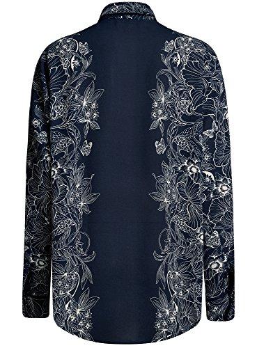 oodji Collection Damen Lässige Bluse mit Bindebändern Blau (7912F)