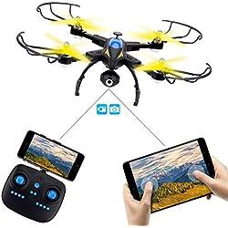 Mini Drone Cuadricópteros con Cámara HD, SHIRUI M50 Quadcopter Plegable - WIFI FPV 2.4G 4 Canales 6 Axis Gyro 720P Video en Tiempo Real Soporte Control Remoto por iPhone/Android APP UFO Helicóptero RTF con 2 Baterías