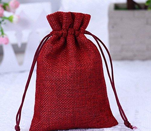 YOIL ✯☭Worth Buying 50pcs Sackleinen Taschen mit Kordelzug Geschenk Jute Schmuck Party Taschen (rot) (Sackleinen-schmuck)