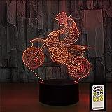 Fushoulu 3D Motocross Fahrrad Nacht Fernbedienung Touch Control Illusion Tischlampen 7 Farben Usb Ändern Schreibtischlampe Lampe Nachtlicht Kinder Geschenk