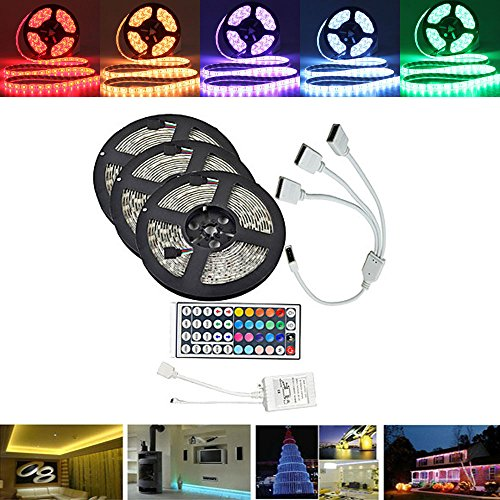 Streifen-taste Abdeckungen (MASUNN 15 M Smd5050 Wasserdicht RGB 450 Led Strip Tape Light Kit + 44 Tasten Controller + Cable Connector DC12V)
