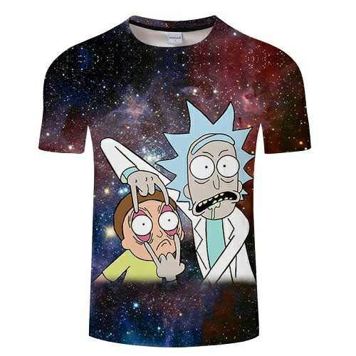 KYKU Cartoon Rick Und Morty 3D Männer T Kurzarm T-Shirt Cartoon T-Shirt Lustiges Böses Lächeln Lässig Sommer T-Shirt Rundhals Top -