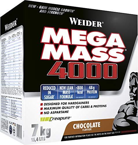 Weider, Mega Mass 4000, Schoko, 1er Pack (1 x 7 kg) - Pro Stärke Gainer