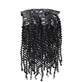 Promotions! 12Inch-28Inch 100% Virgin Brazilian Human Hair Kinky Curl Clip in Hair Extension, curly hair weft , Unprocessed 6A Grade 70G 7 pieces/ set Natural color (12) by becret