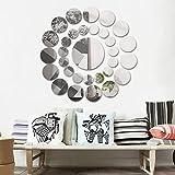 Wandaufkleber Runder Spiegel,31 PC Hevoiok Modern Wandtattoo Wandsticker Startseite Decals Tapete für Wohnzimmer Schlafzimmer Dekoration (Silber)