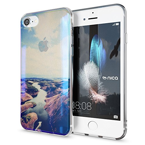 iPhone 8 / 7 Hülle Handyhülle von NICA, Slim Glitzer Silikon Motiv Case Crystal Schutz Dünn Durchsichtig, Handy-Tasche Back-Cover Transparent Bumper für Apple iPhone-7 / 8, Designs:Colored Bokeh Seaside