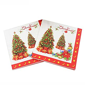FunPa 40 Piezas Servilleta De Navidad Decorativo Servilleta De Papel De Fiesta De Árbol De Navidad D
