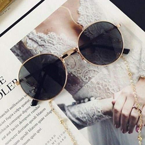 CYCY Koreanische Version der Retro-Brille ins Feuer gelbe Sonnenbrille mit Kette Männer und Frauen Flut Sonnenbrille H transparent Gelbgold Perlen Kette @ Goldrahmen schwarz + Gold Perlen Kette
