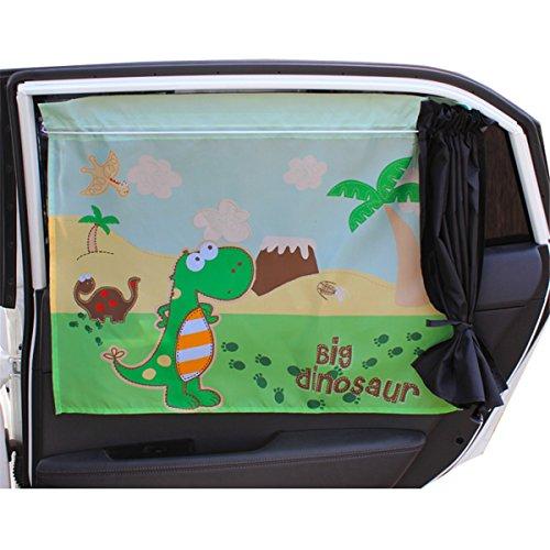 Chilsuessy 2er Sonnenblenden fuer Autoscheiben Cartoon Sonnenschutz fuer Kinder Baby Seitenscheiben Sonnenschutz fuers Auto Baby mit Vorhang, Dinosaurier