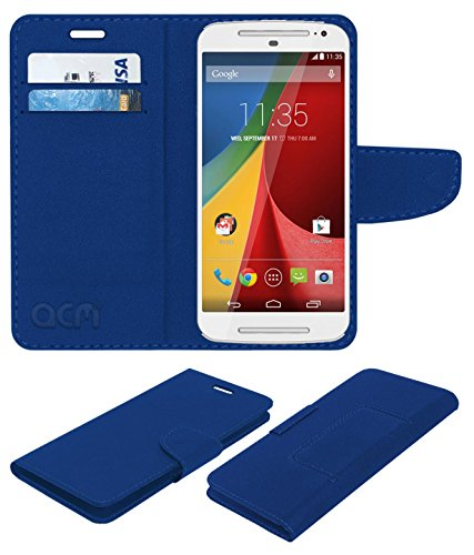 ACM Leather Flip Wallet Case for Motorola Moto G 2nd Gen 2014 Mobile Cover Blue