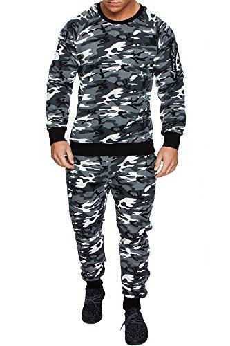 Amaci&Sons Herren Cargo Stil Sportanzug Jogginganzug Trainingsanzug Sporthose+Pullover 1004