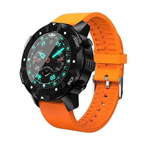 OOZIMO GPS Smarte Uhren - Fitness-Tracker Herzfrequenzmonitore IP67 Wasserdicht Kompass Wettervorhersage Sport Uhr,Orange