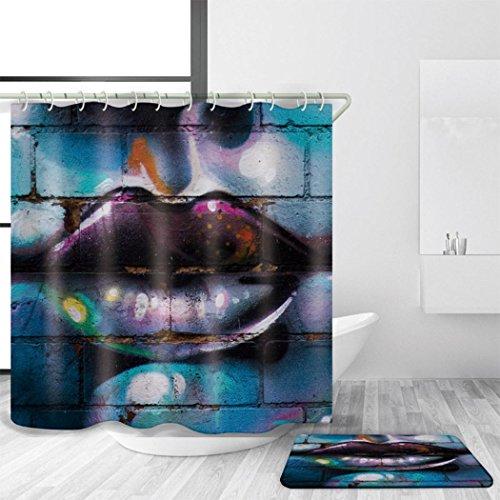 (ZXZ-GO Duschvorhang, Wasserdichte Mildewproof Antibakterielle Badvorhänge, Polyester 3D Digitaldruck Halloween Dekoration, mit Haken und Badematte Mehrere Größen, 180 x 220 cm)