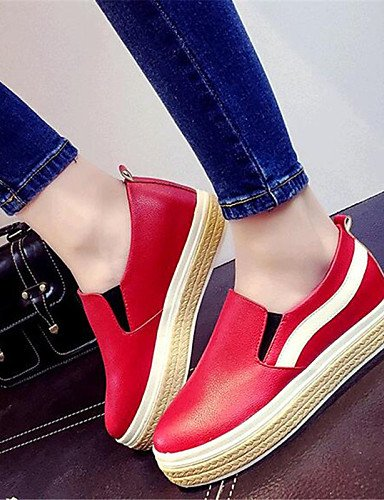 ZQ gyht Scarpe Donna-Mocassini-Tempo libero / Casual-Creepers-Plateau-Finta pelle-Nero / Rosso / Bianco , red-us8 / eu39 / uk6 / cn39 , red-us8 / eu39 / uk6 / cn39 white-us6.5-7 / eu37 / uk4.5-5 / cn37