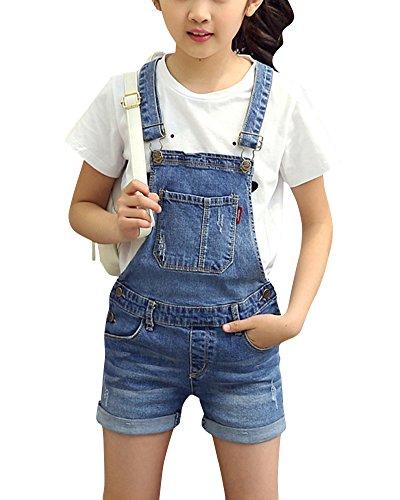Zixing bambine salopette corta jeans ragazze salopette pantaloncini denim jeans shorts overall jumpsuit monopezzi denimblue xl