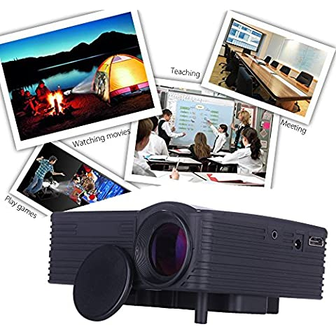 POTOBrand 1080p HD Home Cinema Teatro Multimedia LED proyector AV VGA USB HDM a prueba de polvo con 20 mil horas larga vida LED RGB
