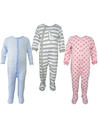 Teddy's Choice 100% Cotton Multi color 3 Combo Kid's Romper for 0-3 Months :Modle-015