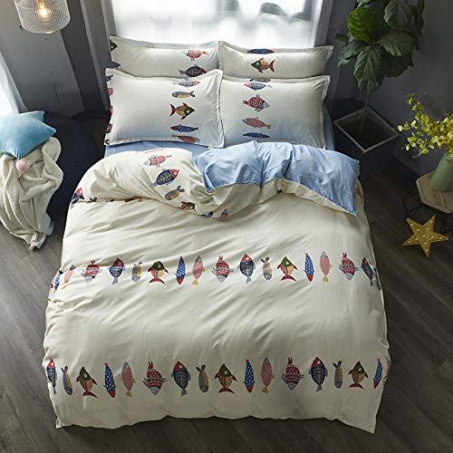 Fischen Kostüm Den Schlafen Mit - YATING Vierteiliges Bettbezug-Einzelbett aus 1,5 m / 1,8 m Bettwäsche in DREI Sätzen mit vielen Fischen. Vierteiliges Set aus 1,5 m