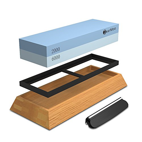 BearMoo Premium Whetstone 2000/6000 Grit Professional Double-Sided Sharpening Stone - Nonslip Bamboo Base & Angle Guide