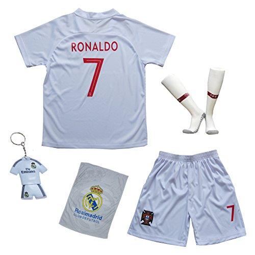 Sheki New Portugal #7 Cristiano Ronaldo Auswärts Weiß Kinder Fußball Trikot Hose und Socken (30 (13-14 Jahre))