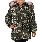 Kinder Parka Riesen Kunst Fell Kragen Pink Teddy Fleece Mantel Jacke Army Winter KF66 (Camouflage Rosa X25, 134/140)