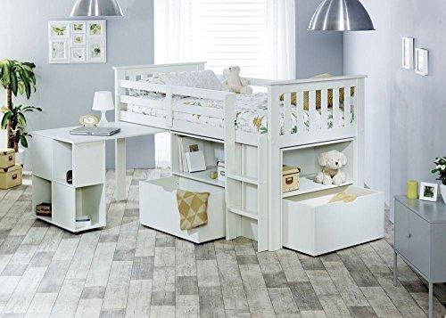 Happy Beds Milo White Wooden Mid Sleeper Kids Bed Frame 3' Single 90 x 190 cm