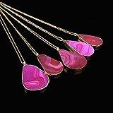 Mingfa Lange Pullover-Kette Kristall-Quarz-Anhänger-Halskette Naturstein-Schmuck für Damen Teen-Mädchen 1 Stück modisch hot pink