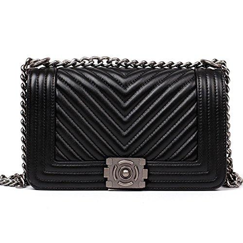 macton Mujer Oveja Mujer Bolso maletín clásico Cadena Funda Negro Negro