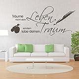 eDesign24 Wandtattoo Träume nicht dein Leben sondern Lebe deinen Traum Wandspruch Wand Tattoo Spruch ca. 80 x 36 cm pastellorange