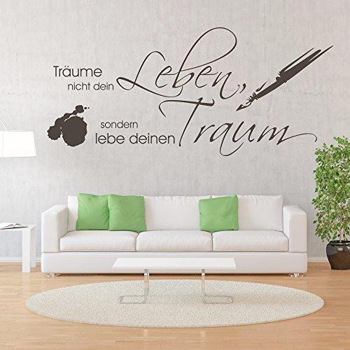 malango® Wandtattoo Träume Nicht Dein Leben sondern Lebe deinen Traum Wandspruch Wand Tattoo Spruch ca. 180 x 81 cm Gold